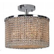 W33745C16 Prism 7 Light Chrome Finish Crystal String Semi Flush Mount Ceiling Light - Discontinued
