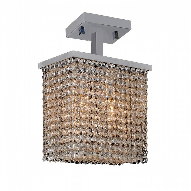 W33753C10 Prism 2 Light Chrome Finish Crystal String Semi Flush Mount Ceiling Light - Discontinued