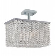 W33754C16 Prism 5 Light Chrome Finish Crystal String Semi Flush Mount Ceiling Light - Discontinued
