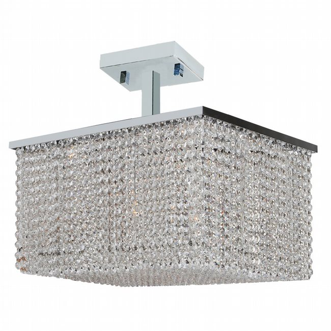 W33755C20 Prism 8 Light Chrome Finish Crystal String Semi Flush Mount Ceiling Light - Discontinued