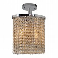 W33762C10 Prism 2 Light Chrome Finish Crystal String Semi Flush Mount Ceiling Light - Discontinued