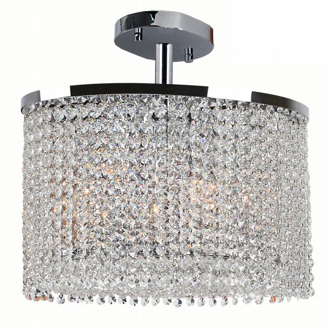 W33763C16 Prism 4 Light Chrome Finish Crystal String Semi Flush Mount Ceiling Light - Discontinued