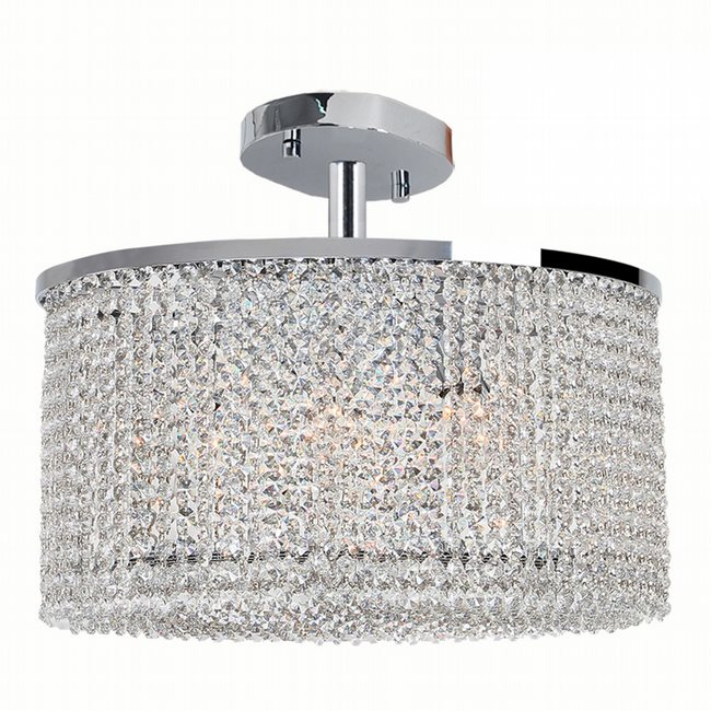 W33764C20 Prism 7 Light Chrome Finish Crystal String Semi Flush Mount Ceiling Light - Discontinued