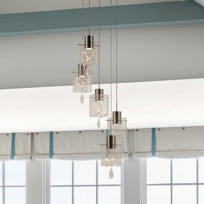 w33819mn17 Papillon 5 Light Matte Nickel Finish LED Ceiling Light