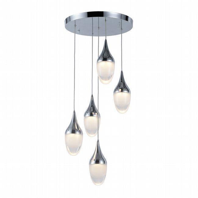 w33837c14 Droplet 5 Light Chrome Finish LED Ceiling Light