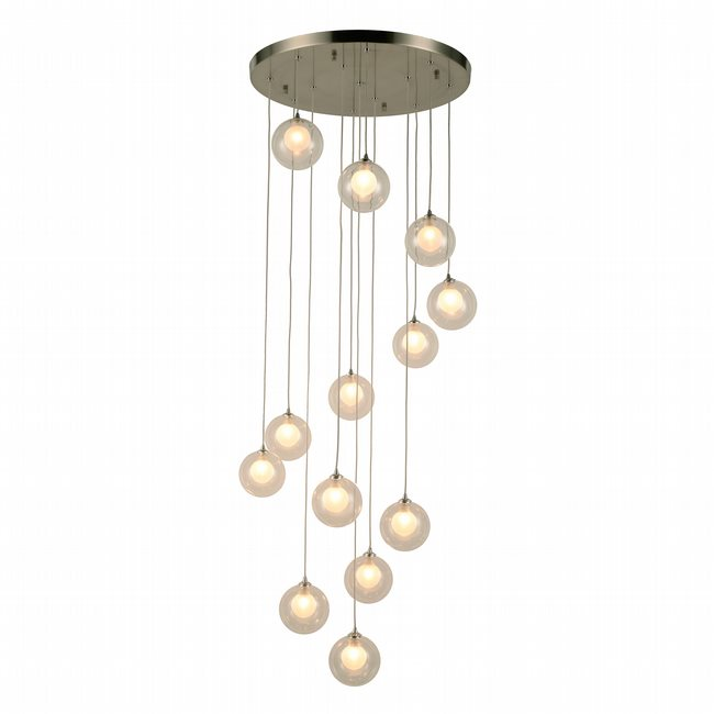 w33853mn22 Moulin 13 Light Brushed Nickel Finish G9 Ceiling Light