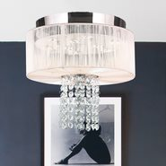 W33954C12-WT Alice 5 Light Chrome Finish Crystal LED Flush Mount with White String Shade - Discontinue