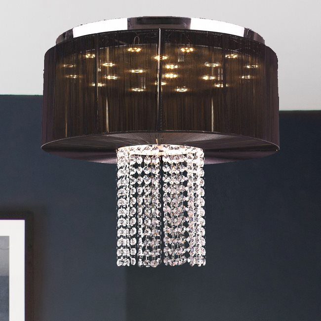 W33954C20-BK Alice 9 Light Chrome Finish Crystal LED Flush Mount with Black String Shade - Discontinued