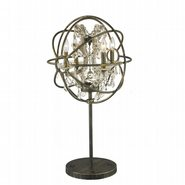w53190ab18-gt Armillary 18 in. D x 33 in. H  Antique Bronze Finish with Golden Teak Crystal Foucault's Orb Table Lamp Large