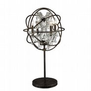 w53190f18-gt Armillary 18 in. D x 33 in. H Dark Bronze Finish with Clear Crystal Foucault's Orb Table Lamp Large
