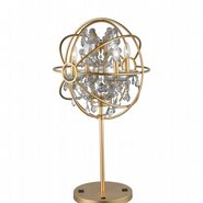 w53190mg18-cl Armillary 18 in. D x 33 in. H  Matte Gold Finish with Clear Crystal Foucault's Orb Table Lamp Large