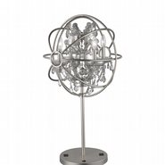 w53190mn18-cl Armillary 18 in. D x 33 in. H  Matte Nickel Finish with Clear Crystal Foucault's Orb Table Lamp Large