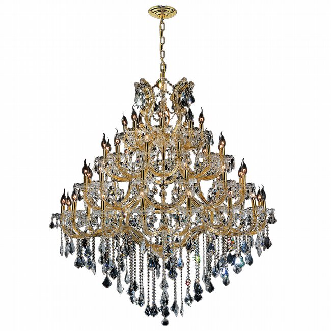 W83002G46 Maria Theresa 49 Light Gold Finish and Clear Crystal Chandelier Four 4 Tier