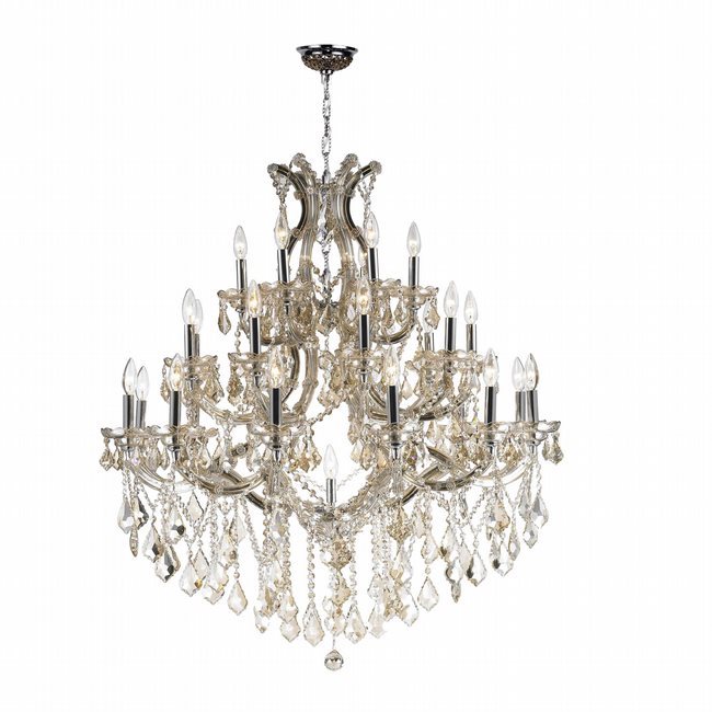 W83003C38-GT Maria Theresa Chandelier, W38x H42, 28 Light, Chrome Finish, Golden Teak Crystal