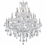 W83003C38 Maria Theresa 28 light Chrome Finish with Clear Crystal Chandelier