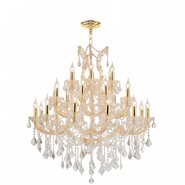 W83003G38 Maria Theresa 28 Light Gold Finish and Clear Crystal Chandelier Three 3 Tier