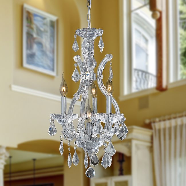 W83004C12 Maria Theresa 4 light Chrome Finish with Double Cut Clear Crystal Chandelier