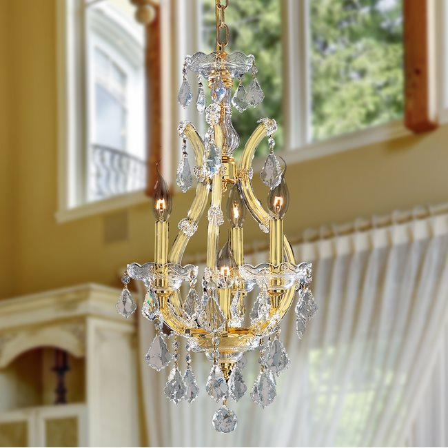 W83004G12 Maria Theresa 4 light Gold Finish with Double Cut Clear Crystal Chandelier