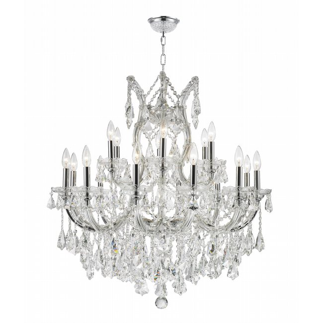 W83005C30 Maria Theresa 19 Light Chrome Finish and Clear Crystal Chandelier Two 2 Tier