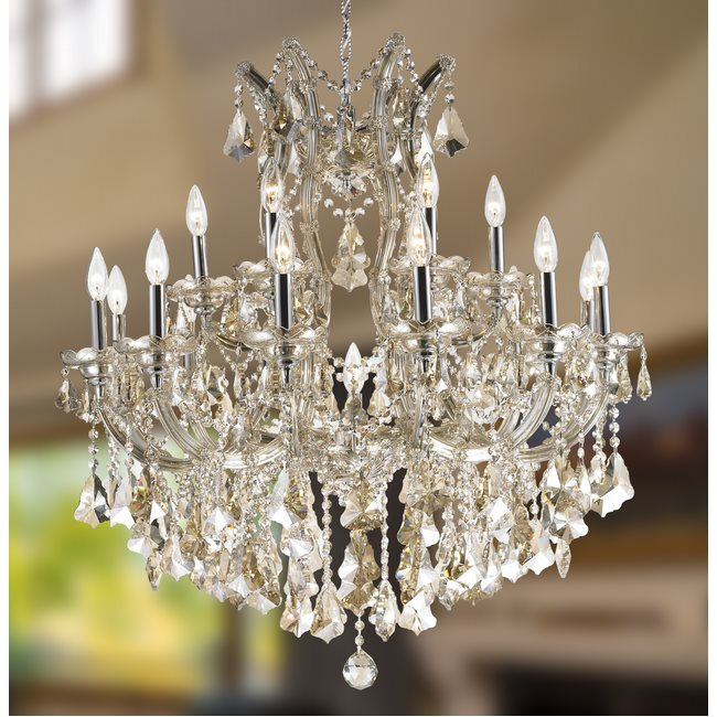 W83005C30-GT Maria Theresa Chandelier, W30x H28, 19 Light, Chrome Finish, Golden Teak Crystal