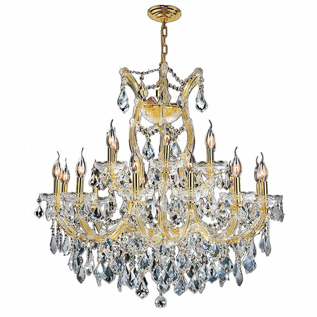 W83005G30 Maria Theresa 19 Light Gold Finish and Clear Crystal Chandelier Two 2 Tier