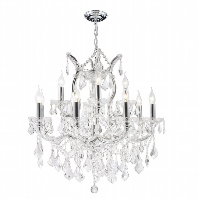 W83006C27 Maria Theresa 13 Light Chrome Finish and Clear Crystal Chandelier Two 2 Tier
