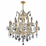 W83006G27 Maria Theresa 13 light Gold Finish with Double Cut Clear Crystal Chandelier