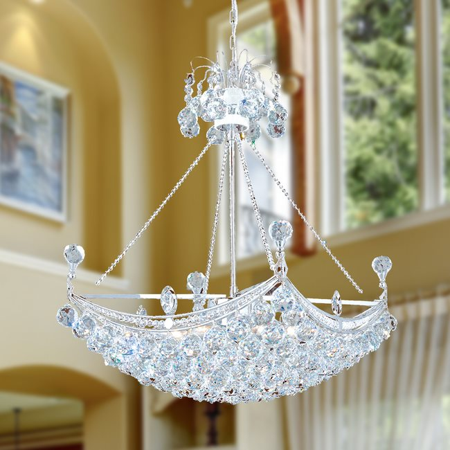 W83025C20 Empire 6 Light Chrome Finish and Clear Crystal Chandelier