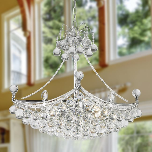 W83025C24 Empire 6 Light Chrome Finish and Clear Crystal Chandelier
