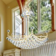 W83025G20 Empire 6 light Gold Finish with Clear Crystal Chandelier