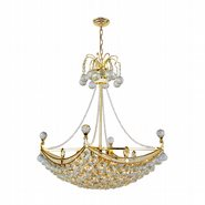 Empire 6 light Gold Finish with Clear Crystal Chandelier