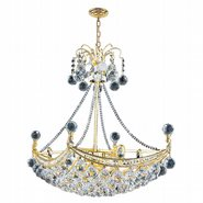 W83025G24 Empire 6 Light Gold Finish and Clear Crystal Chandelier