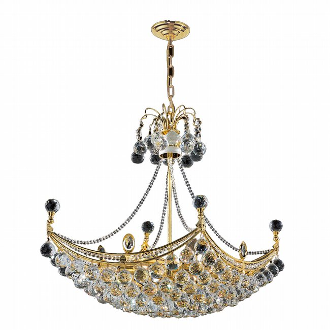 W83025G28 Empire 8 light Gold Finish with Clear Crystal Chandelier
