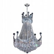 W83026C20 Empire 9 Light Chrome Finish and Clear Crystal Chandelier