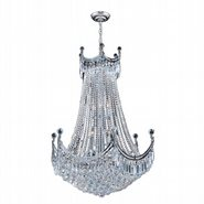 W83026C30 Empire 24 Light Chrome Finish and Clear Crystal Chandelier