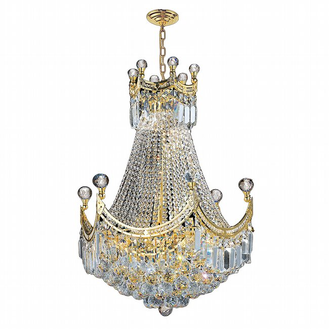 W83026G20 Empire 9 Light Gold Finish and Clear Crystal Chandelier