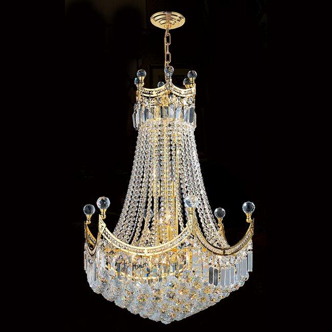 W83026G24 Empire 18 Light Gold Finish and Clear Crystal Chandelier