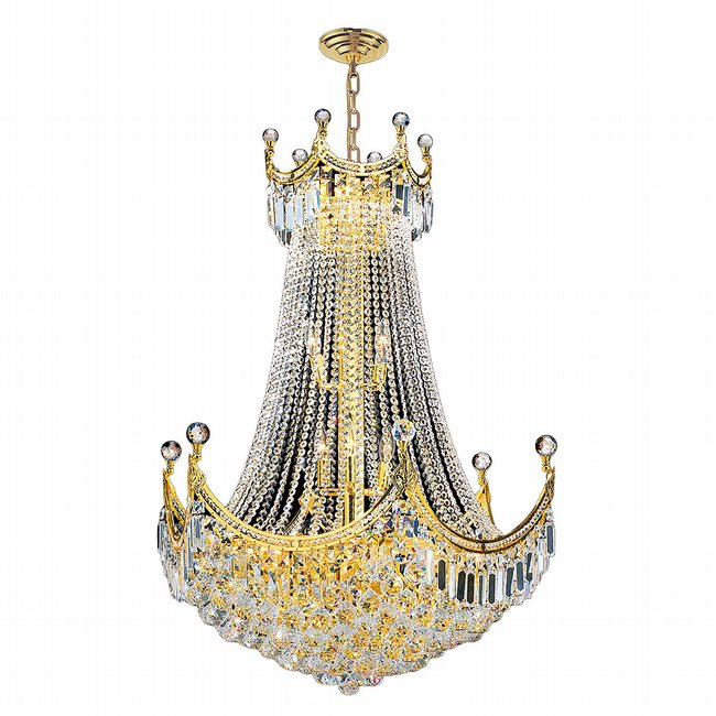 W83026G30 Empire 15 light Gold Finish with Clear Crystal Chandelier