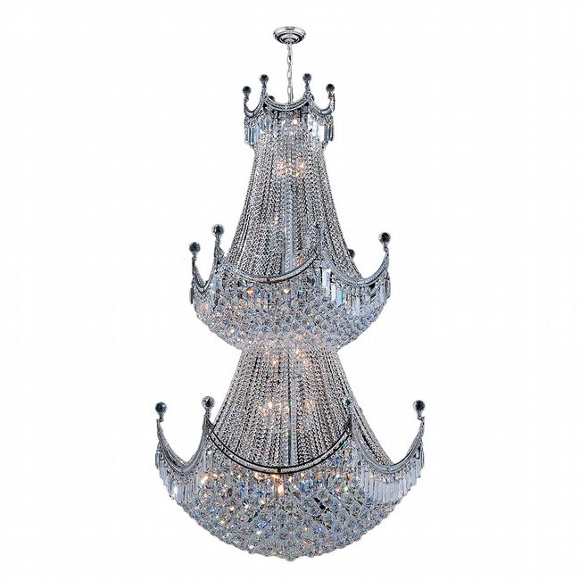 W83027C36 Empire 36 Light Chrome Finish and Clear Crystal Chandelier Two 2 Tier