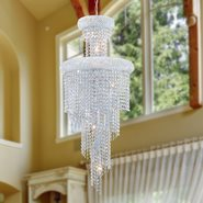 W83029C16 Empire 10 Light Chrome Finish and Clear Crystal Chandelier