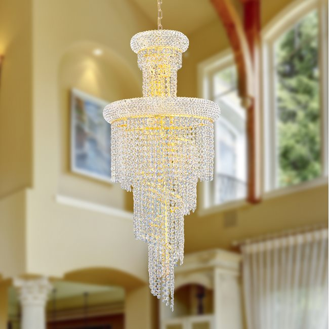 W83029G16 Empire 10 Light Gold Finish and Clear Crystal Chandelier