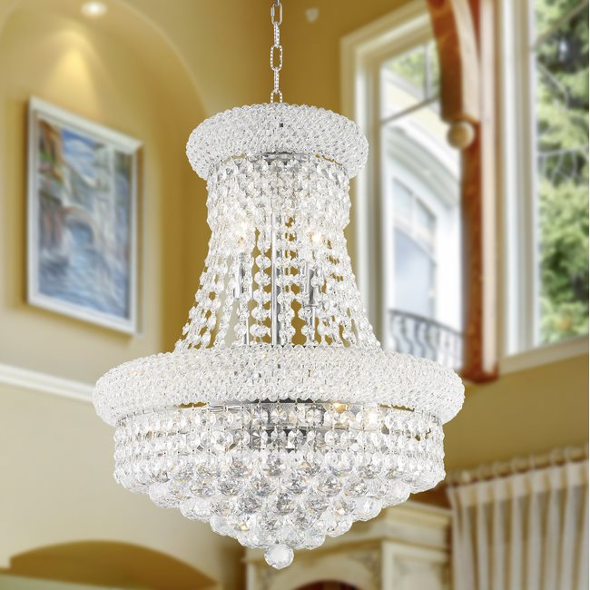 W83030C16 Empire 8 Light Chrome Finish and Clear Crystal Mini Chandelier