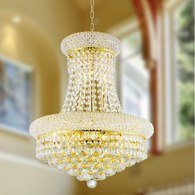 W83030G16 Empire 8 Light Gold Finish and Clear Crystal Chandelier