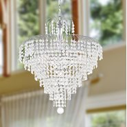 W83031C20 Empire 7 Light Chrome Finish and Clear Crystal Chandelier