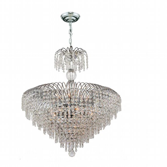 W83031C24 Empire 14 Light Chrome Finish and Clear Crystal Chandelier