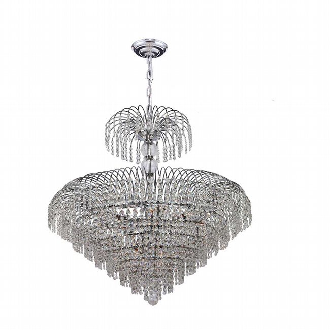 W83031C30 Empire 14 Light Chrome Finish and Clear Crystal Chandelier