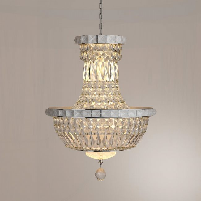 W83032C12 Empire 6 light Chrome Finish with Clear Crystal Chandelier