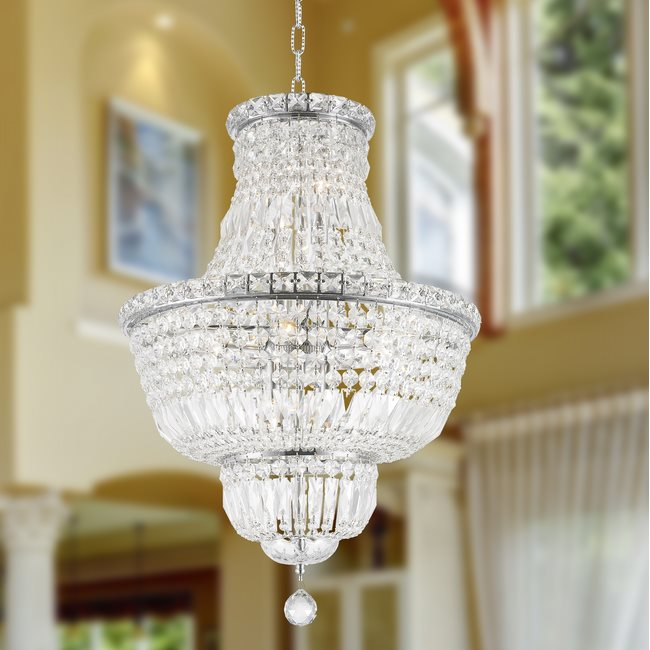 W83032C18 Empire 12 Light Chrome Finish and Clear Crystal Chandelier