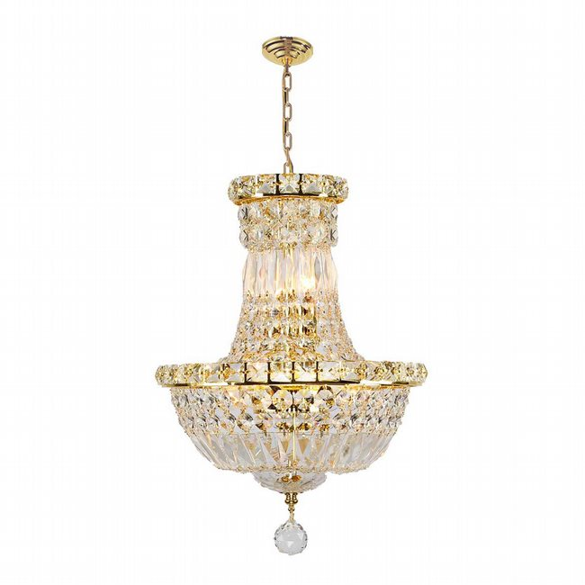 W83032G12 Empire 6 Light Gold Finish and Clear Crystal Chandelier