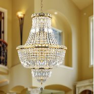 W83032G18 Empire 12 light Gold Finish with Clear Crystal Chandelier